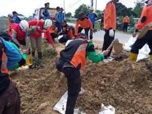 Memasukkan tanah dalam karung untuk memperbaiki tanggul